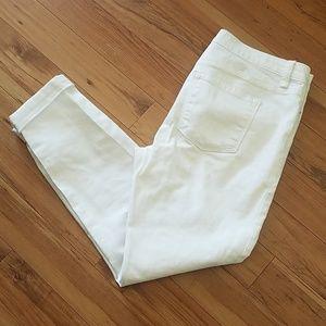 Ann Taylor LOFT distressed white jeans